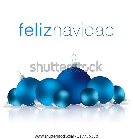 Spanish Merry Christmas bauble card in vector format.