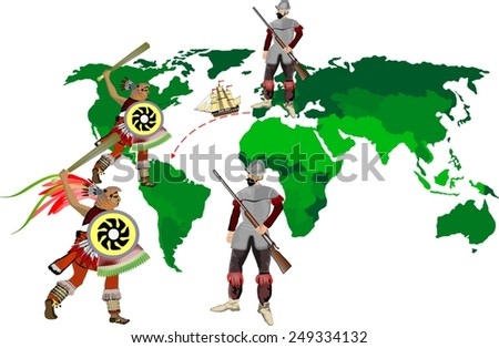 Spanish soldiers against south American Indian tribes - stock vector