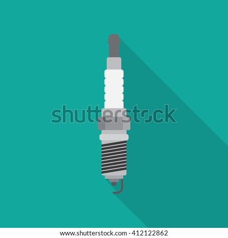spark-plug icon with lightning sign. concept of service station, spare parts, automotive components. flat style modern logotype design vector illustration - stock vector