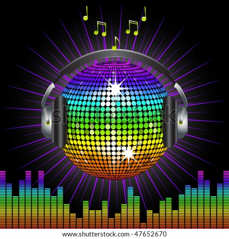 Sparking rainbow disco ball with headphones and equaliser