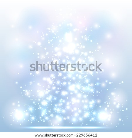 Sparkle Christmas background with shine stars and blurry lights, illustration. - stock vector