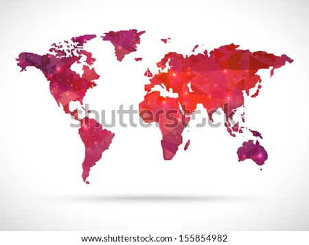 Sparkle diamond vector world map - stock vector