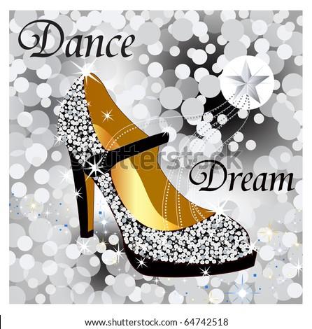 sparkle glitter shoe - stock vector