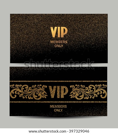 Sparkle VIP gold cards - stock vector