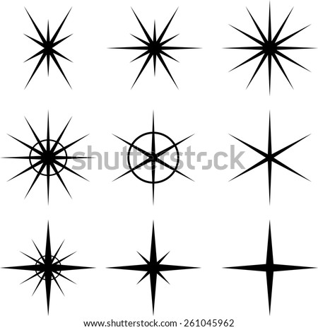 Sparkles . Vector Star Icon Logos Collection . Star Shapes for your Design . - stock vector