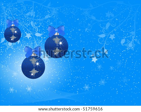 Sparkling blue Christmas baubles