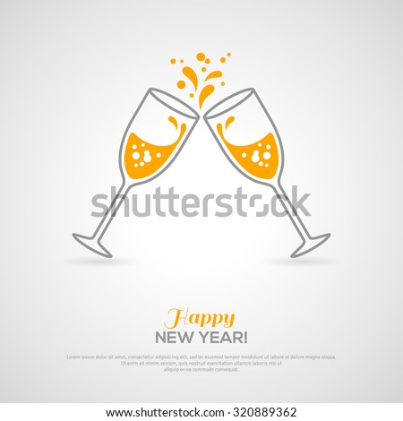 Sparkling champagne glasses. Vector illustration. Minimalistic concept with line style glass and sparkling champagne inside. Place for your text message. - stock vector