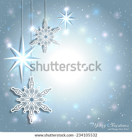 Sparkling Christmas Star Snowflake Background - stock vector