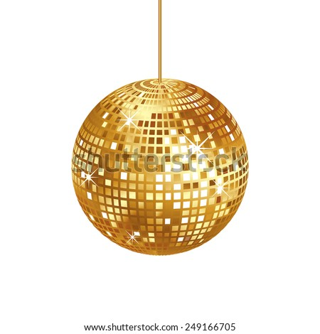 Sparkling Gold Disco Ball Isolated On Stock Vector ...