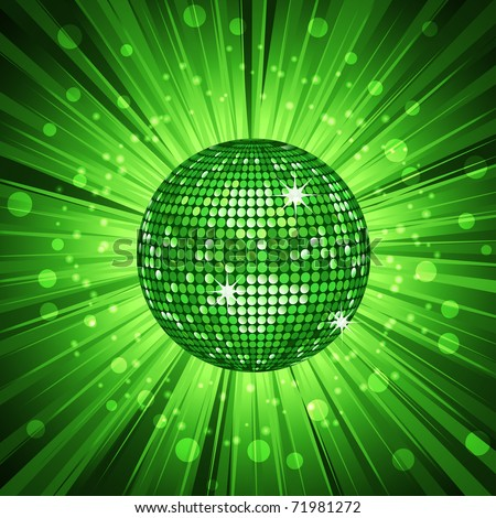Sparkling green discoball on a glowing starburst background - stock vector