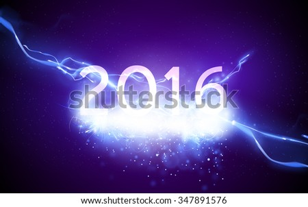 sparkling new year illustration - 2016 - stock vector