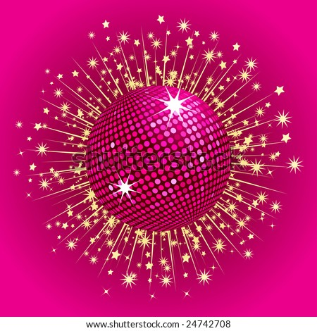 Sparkling pink disco ball with gold stars bursting out from behind - stock vector