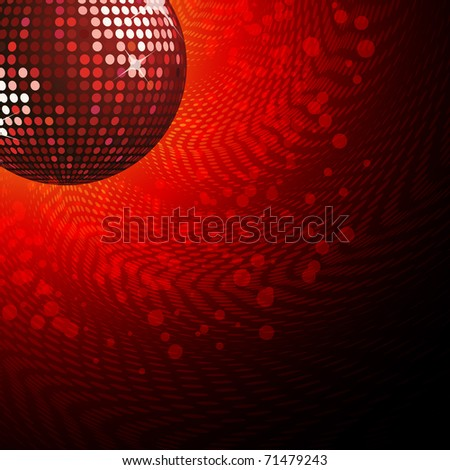 Sparkling red disco ball with halftone background - stock vector