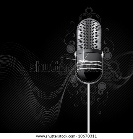Sparkling retro a microphone - stock vector