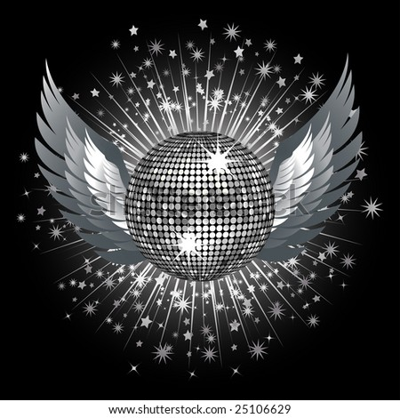 sparkling silver disco ball and wings on black background with stars bursting out