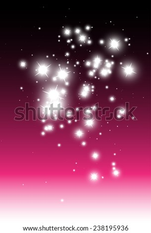 Sparkling stars background vector over pink background template - Vector pink sparkles background illustration template - stock vector