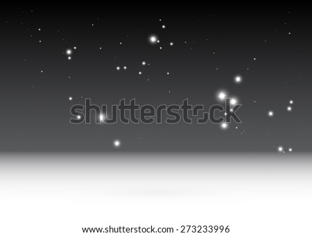 Sparkling stars falling vector background template  - Virtual 3D starful space background illustration - stock vector
