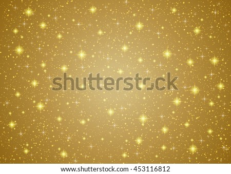 Sparkling twinkling Stars on abstract Gold background. Cosmic shiny galaxy (atmosphere). Holiday blank texture for Christmas (Xmas), Happy New Year , golden glow milky way elements (fantasy sky) - stock vector