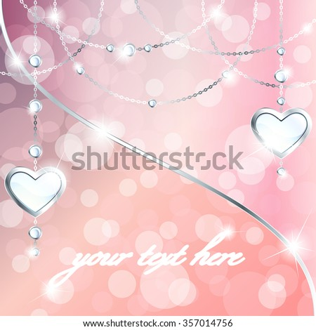 Sparkly peach pink background with silver heart-shaped pendants (eps10); - stock vector