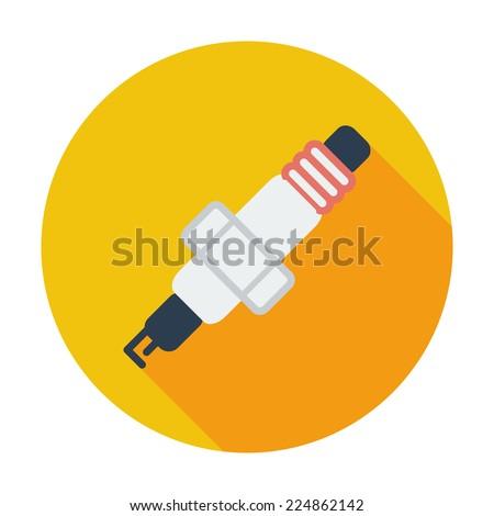 Sparkplug. Single flat color icon. Vector illustration. - stock vector
