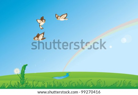 Sparrow flying over the spring field - stock vector