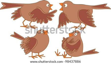 sparrows talk - stock vector