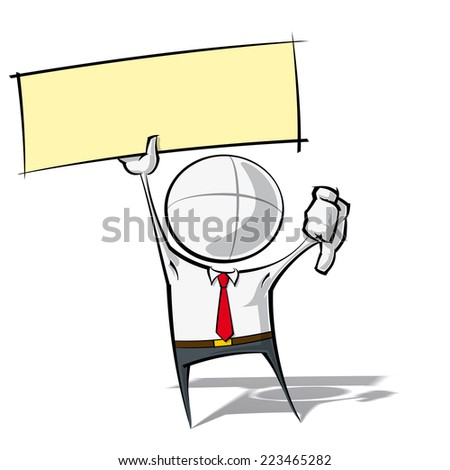 Sparse vector illustration of a of a generic Business cartoon character with thumbs down, holding up a label. - stock vector