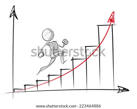 Sparse vector illustration of a of a generic cartoon character up an exponential growth chart. - stock vector
