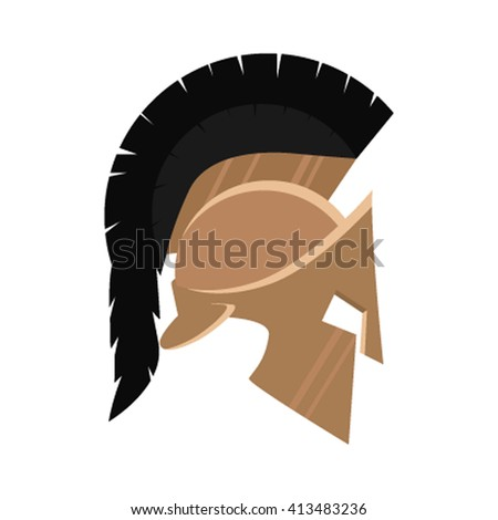 Spartan Helmet silhouette, Greek warrior - Gladiator, legionnaire heroic soldier. Vector illustration in a flat style icon - stock vector