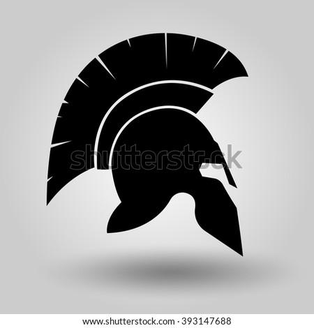spartan helmet silhouette symbol gladiator soldier stock