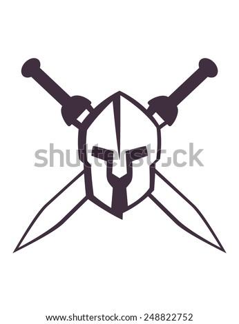 spartan helmet with crossed swords vector illustration, eps10, easy to edit - stock vector