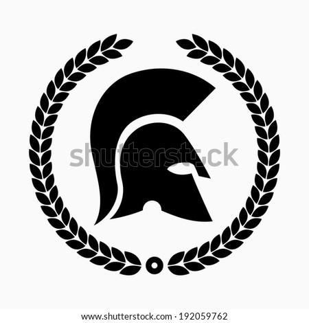Spartan helmet with laurel wreath - stock vector