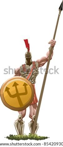Spartan Hoplite holding his spear - stock vector