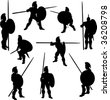 Spartan Hoplite Silhouettes - stock photo