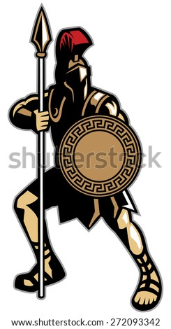spartan mascot holding the spear weapon and the circle shape shield - stock vector