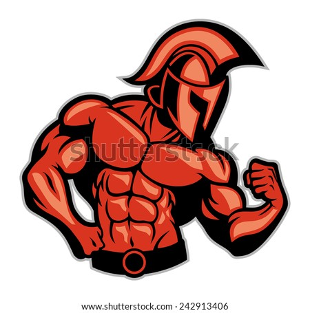 spartan muscle posing - stock vector