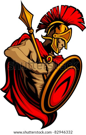 Spartan Trojan Mascot with Spear and Shield - stock vector