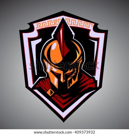 Spartan warrior mascot. - stock vector
