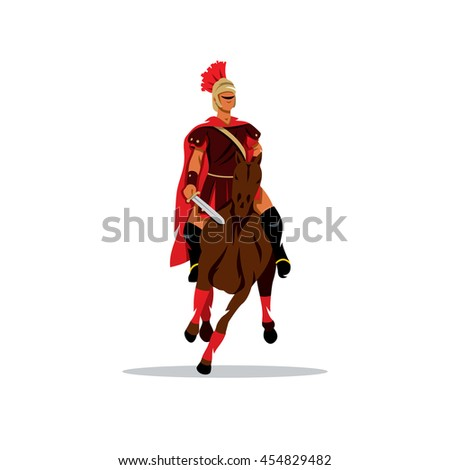 Spartan warrior on horseback holding sword. Vector Cartoon Illustration. Warrior in armor on horse. Unusual Logo template isolated on a white background - stock vector