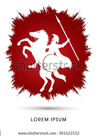Spartan warrior riders with a spear designed on grunge frame background graphic vector. - stock vector