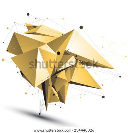 Spatial shiny technological shape with wire mesh, polygonal gold cybernetic wireframe object. - stock vector