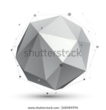 Spatial vector monochrome digital eps8 object, dimensional technology element with wireframe, spherical symbol isolated on white background. - stock vector