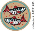Spawning Salmon - Native American Style Fish Vector - stock vector