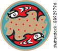 Spawning Salmon - Native American Style Vector - stock vector