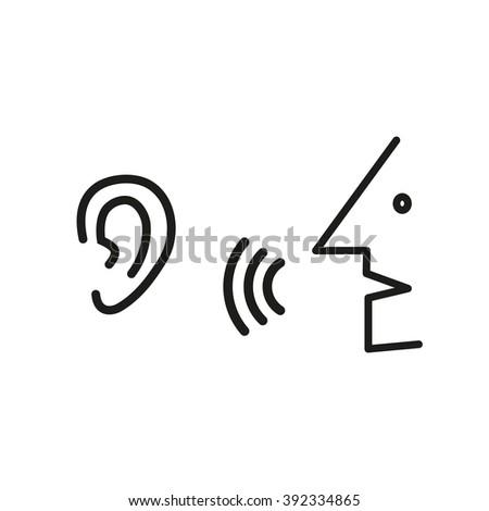 Speak Listen Symbol Listener Rumor Icon Stockvector 392334865
