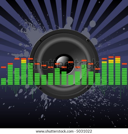 Speaker and equalizer on a grunge splashes - stock vector