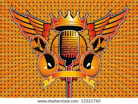Speaker and microphone motif. File contains vector as well as high resolution JPG. - stock vector