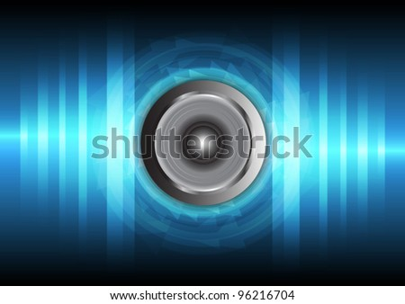 speaker and vibration sound wave vector - stock vector