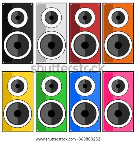 Speaker color sound audio concept illustration - stock vector
