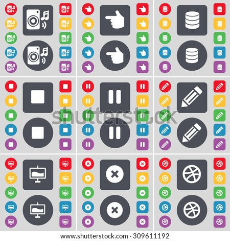 Speaker, Hand, Database, Media stop, Pause, Pencil, Graph, Stop, Ball icon symbol. A large set of flat, colored buttons for your design. Vector illustration - stock vector